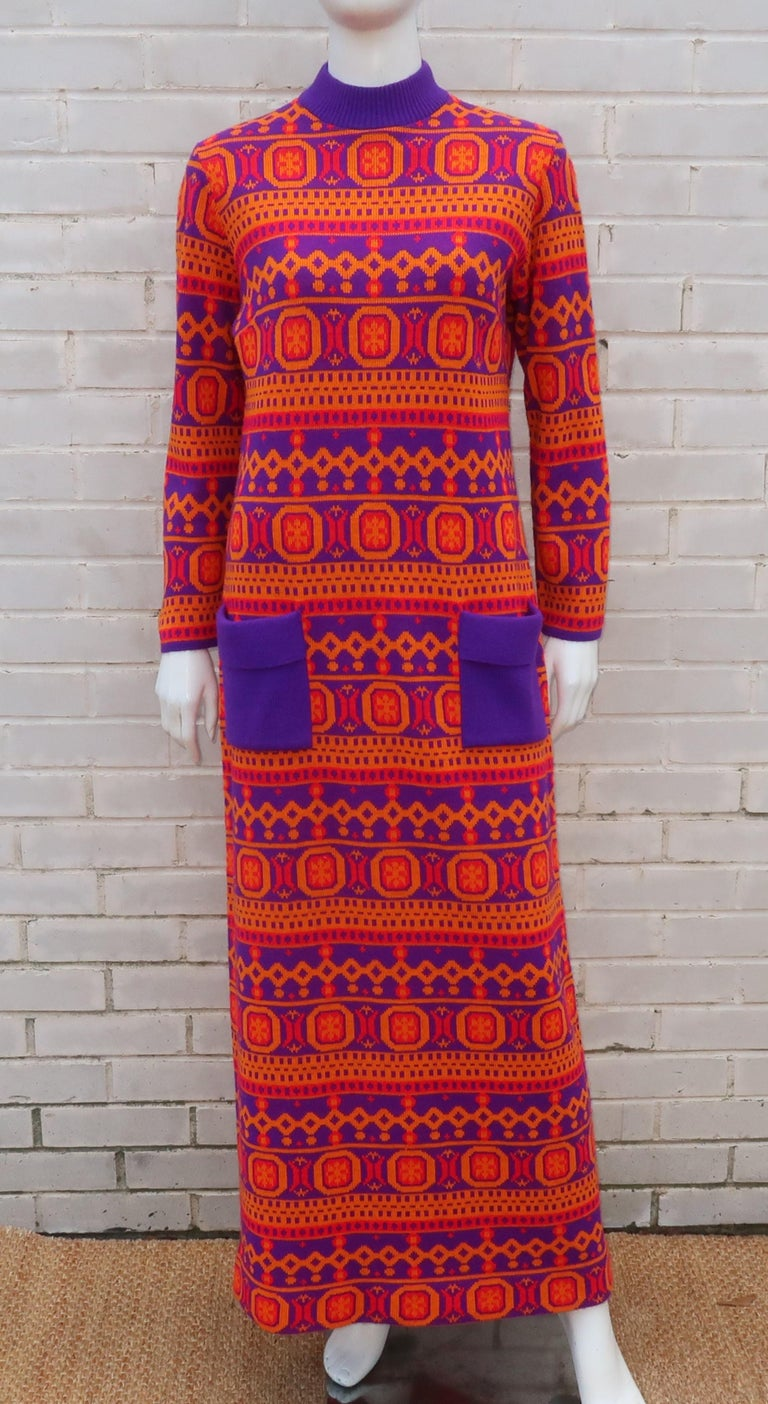 Susan Small English Mod Maxi Sweater Dress, 1970's For Sale 2
