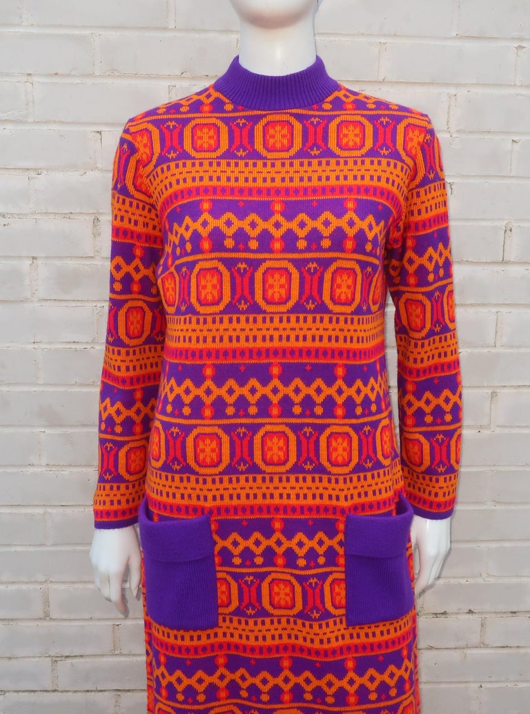 Susan Small English Mod Maxi Sweater Dress, 1970's For Sale 3