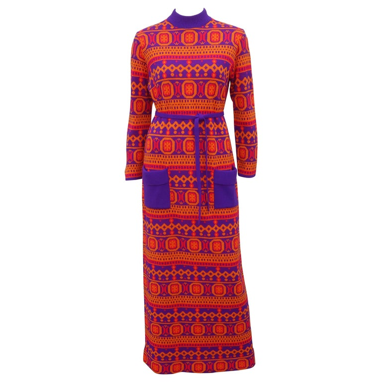 Susan Small English Mod Maxi Sweater Dress, 1970's For Sale