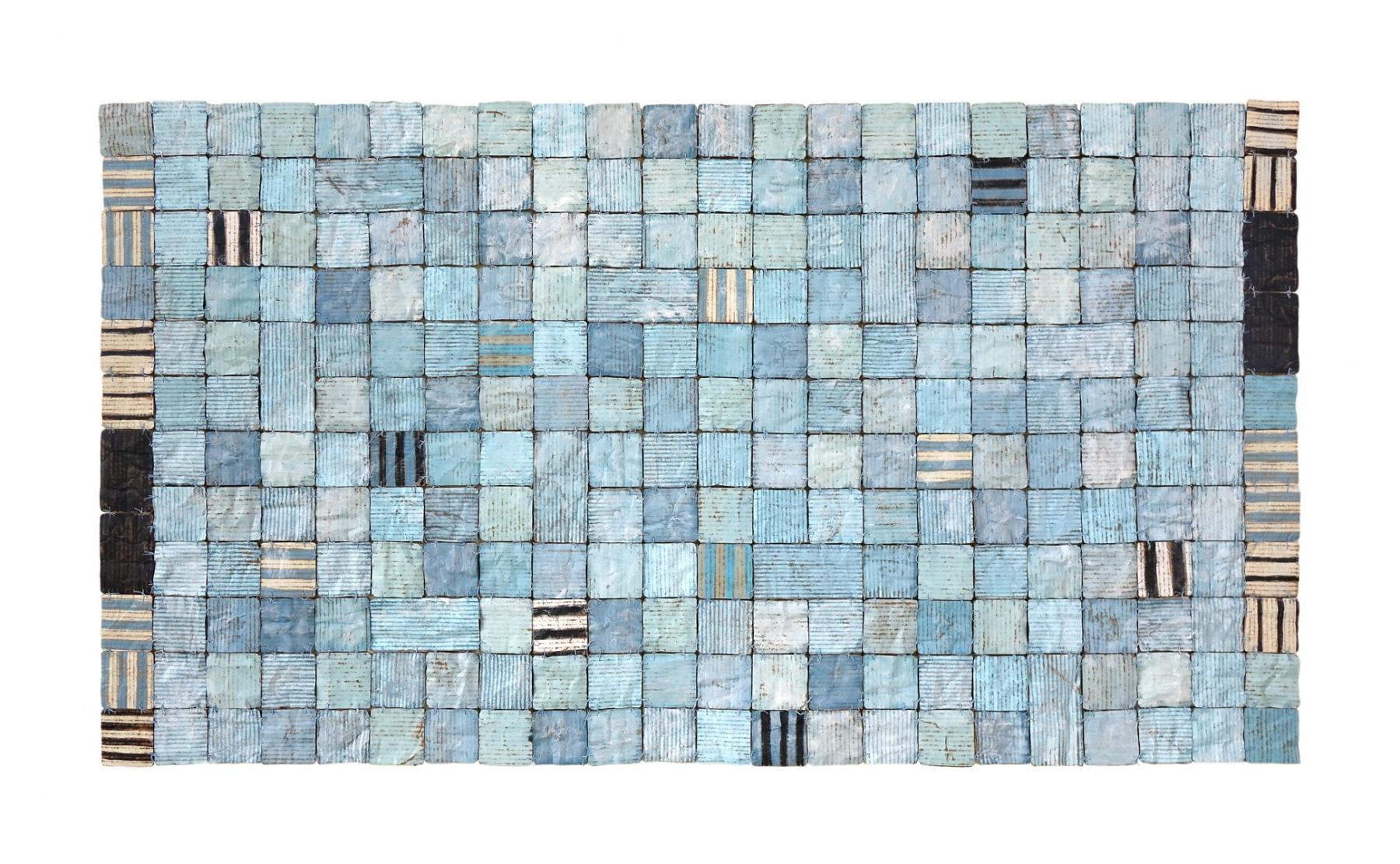 Big Blue Comfort (Abstract Mixed Media Stitched Grid Painting)