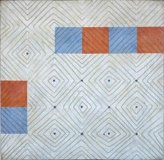 Diamonds 1 (Abstract Blue White and Orange Encaustic Square Work on Panel)