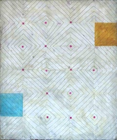 Diamonds 2 (Abstract Blue White Yellow and Pink Vertical Work on Panel)
