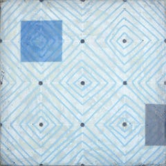 Diamonds 3 (Minimal Blue and White Square Encaustic Work on Panel)