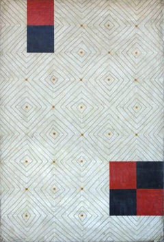Diamonds 4 (Abstract Red, Navy Blue and White Vertical Encaustic Work on Panel)