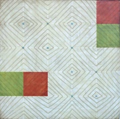 Diamonds 5 (Abstract Red, Green, Blu and White Square Encaustic Work on Panel)