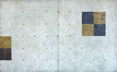 Diamonds 6: Diptych (Abstract Beige, Blue and White Encaustic Work on 2 Panels)