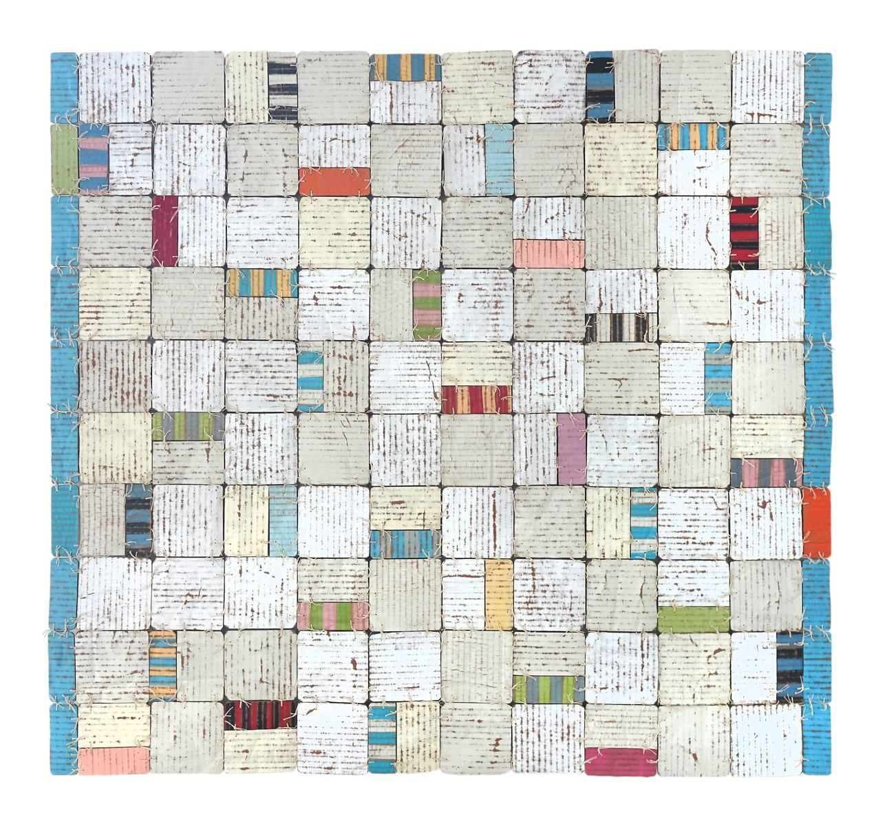 Nettie Jane (Colorful Striped Mixed Media Abstract Check Pattern Stitched Work)