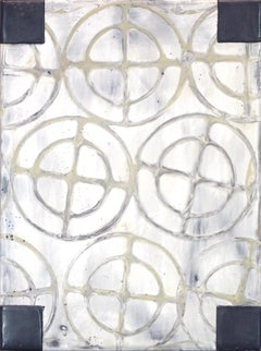 Reveries 14 (Abstract White Yellow and Gray Vertical Encaustic Work on Panel)