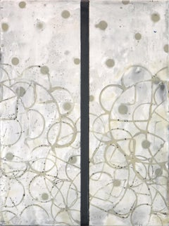 Reveries 8 (Abstract White Yellow and Gray Vertical Encaustic Work on Panel)