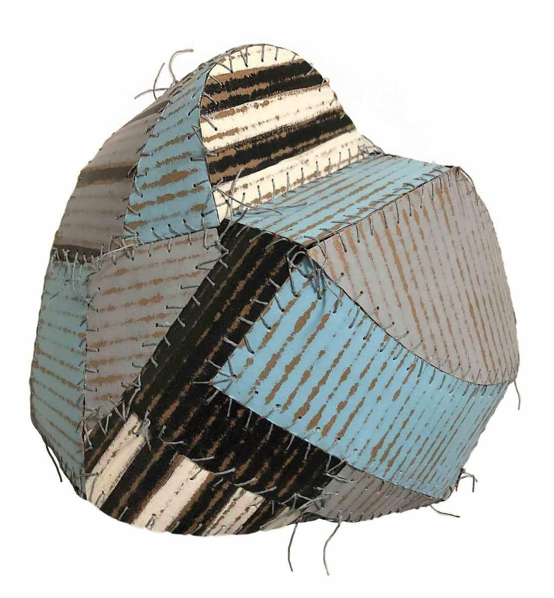 Bumble (Folk Style Abstract 3-D Wall Sculpture in Sky Blue, White, Black & Grey)