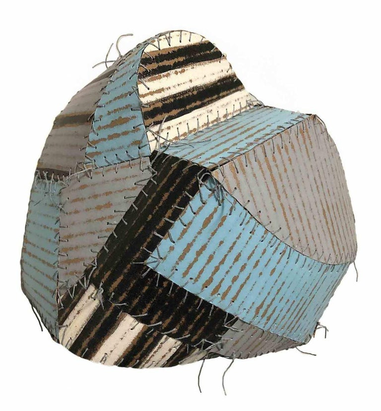 Bumble (Folk Style Abstract 3-D Wall Sculpture in Sky Blue, White, Black & Grey) - Mixed Media Art by Susan Stover