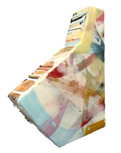 Sashay: Abstract Encaustic Wall Sculpture in Blue, White, Yellow, Fuchsia