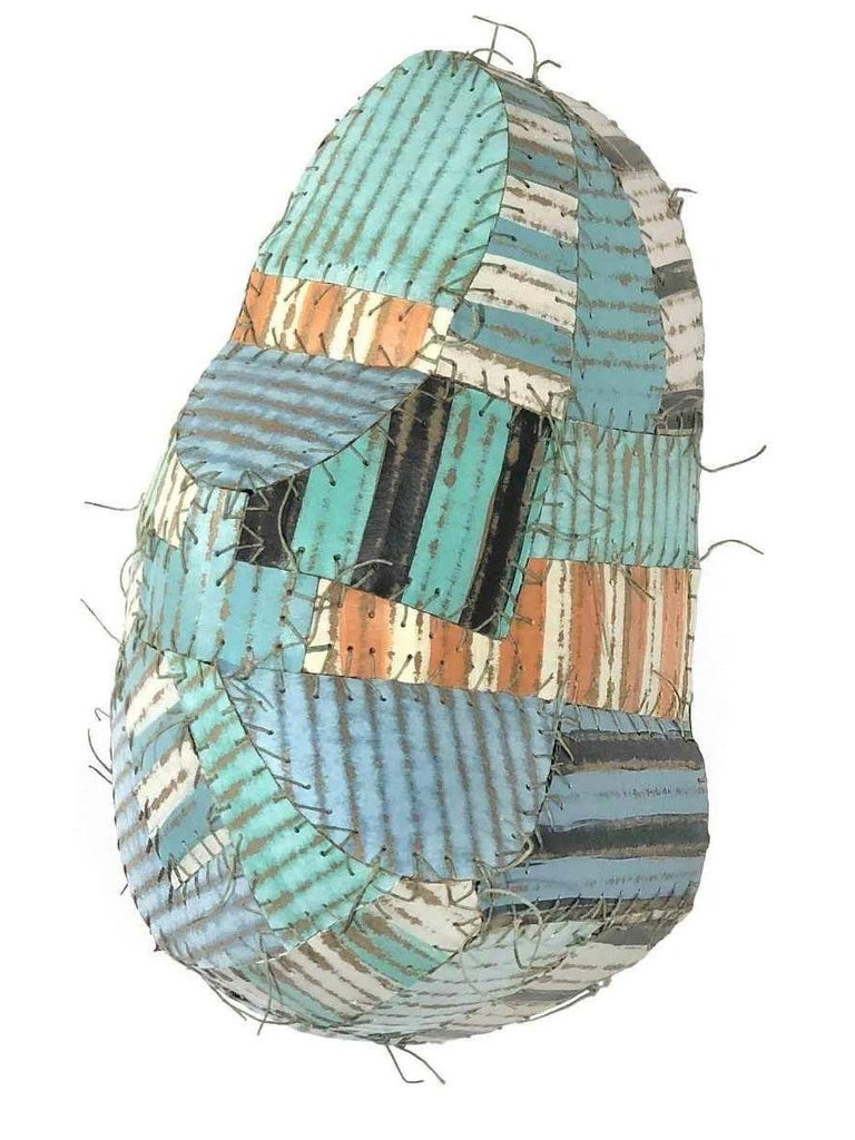 Susan Stover Abstract Sculpture - Why so Blue? (Abstract Three Dimensional Wall Sculpture in Robin's Egg Blue)