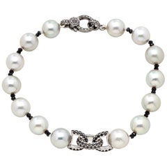 Susan VanGilder Akoya Pearl & Sterling Silver Sapphire Bracelet