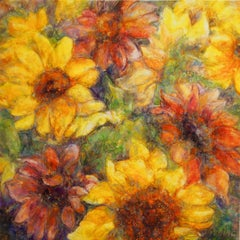 Sunflowers, Varnished Watercolor on Archival Claybord