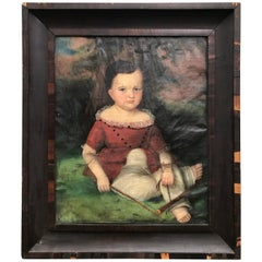 Susan Walters Folk Art Painting of a Young Boy