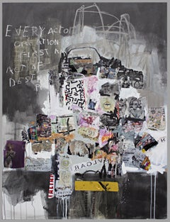 Every Act - textural abstract street art painting soft color white, brown, pink