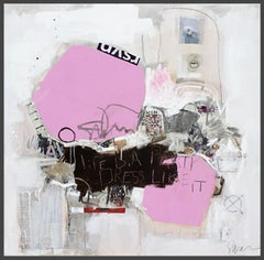 Life is A Party - textural abstract painting dominant white and pink color