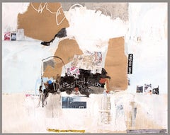 To The Nines - textural abstract painting dominant white beige and earth tone