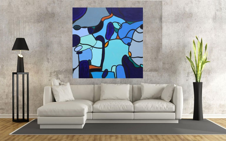 Homeward Bound, Painting, Acrylic on Canvas - Blue Abstract Painting by Susan Wooler