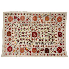 Susani Embroidered Turkoman Vintage Panel with Pomegranates