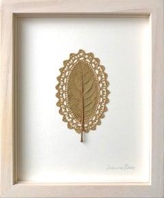 Bordure -embroidery flora dried magnolia leaf on paper