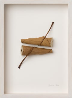 Duet - intricate contemporary embroidered real leaves on paper - nature art