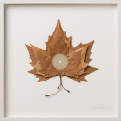 For What Binds Us- nature inspired embroidered real leaves on paper - nature art