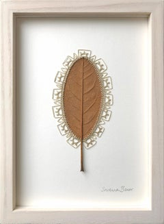 Formation -embroidery flora dried magnolia leaf on paper