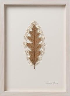 Little Dreams - intricate embroidery flora dried oak leaf on paper