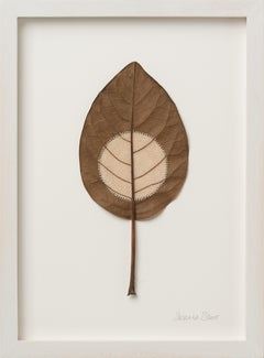 Moon XXXV - Intricate contemporary embroidered leaf nature art