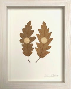 Oak circles - intricate embroidery flora dried oak leaves on paper