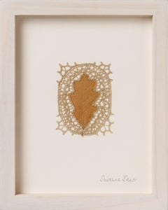 Reverence - intricate embroidery flora dried oak leaf on paper