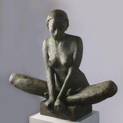 Middle - popular contemporary nude female bronze sculpture in meditative pose
