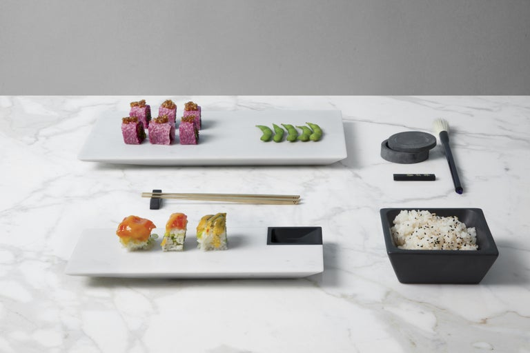 Italian Sushi Tray in White Michelangelo Marble by Ivan Colominas, Italy For Sale