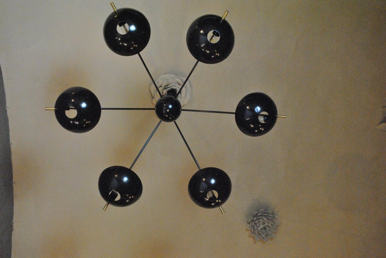 Contemporary Suspension Chandelier with Brass Rods by Cellule Creative Studio for Misia Arte For Sale