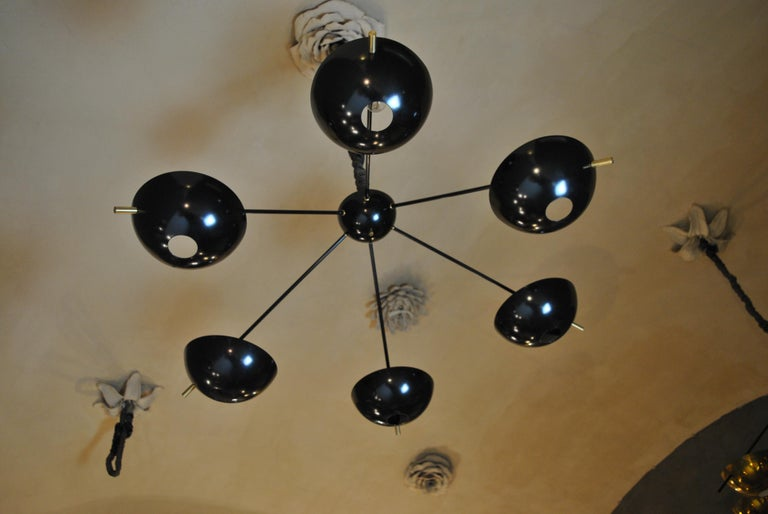 Aluminum Suspension Chandelier with Brass Rods by Cellule Creative Studio for Misia Arte For Sale