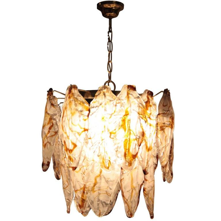 Suspension Lamp with White Murano Glass and Caramel. Italy, 1960.