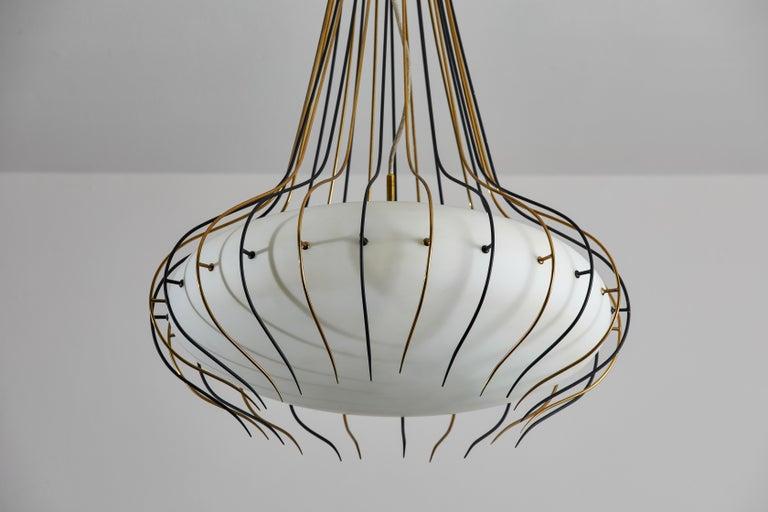 Metal Suspension Light by Angelo Lelli for Arredoluce