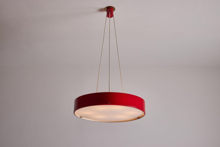 Suspension light by Bruno Gatta for Stilnovo. Designed and manufactured in Italy, circa 1950's. Painted metal, acrylic, brass. Original canopy, custom brass backplate. Rewired for U.S. standards. We recommend six E27 25w maximum bulbs. Bulbs
