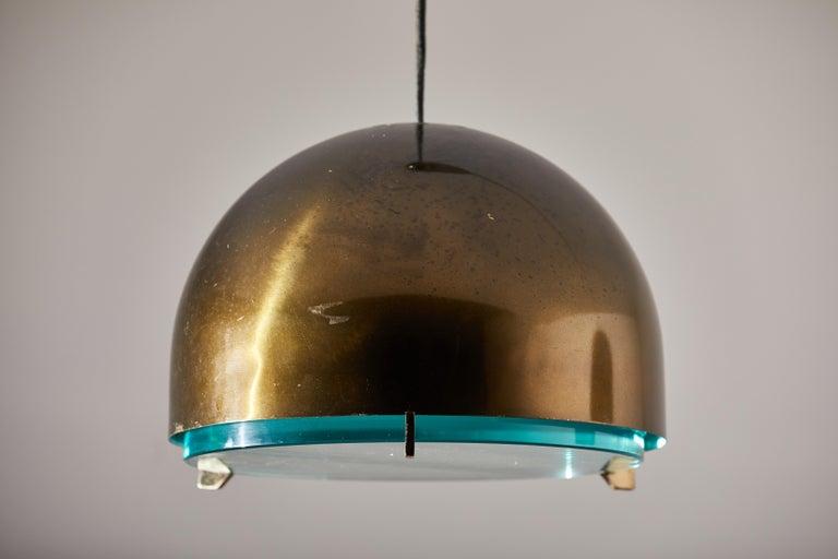 Brass Suspension Light by Fontana Arte For Sale