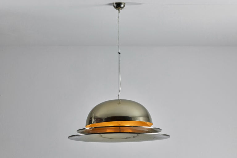 Lanzichenecchi suspension light by Gianemilio Piero and Anna Monti for Fontana Arte. Designed and manufactured in Italy, 1967. Nickel plated brass, satin glass diffuser. Rewired for U.S. junction boxes. Takes one E27 75w maximum bulb. Bulbs provided