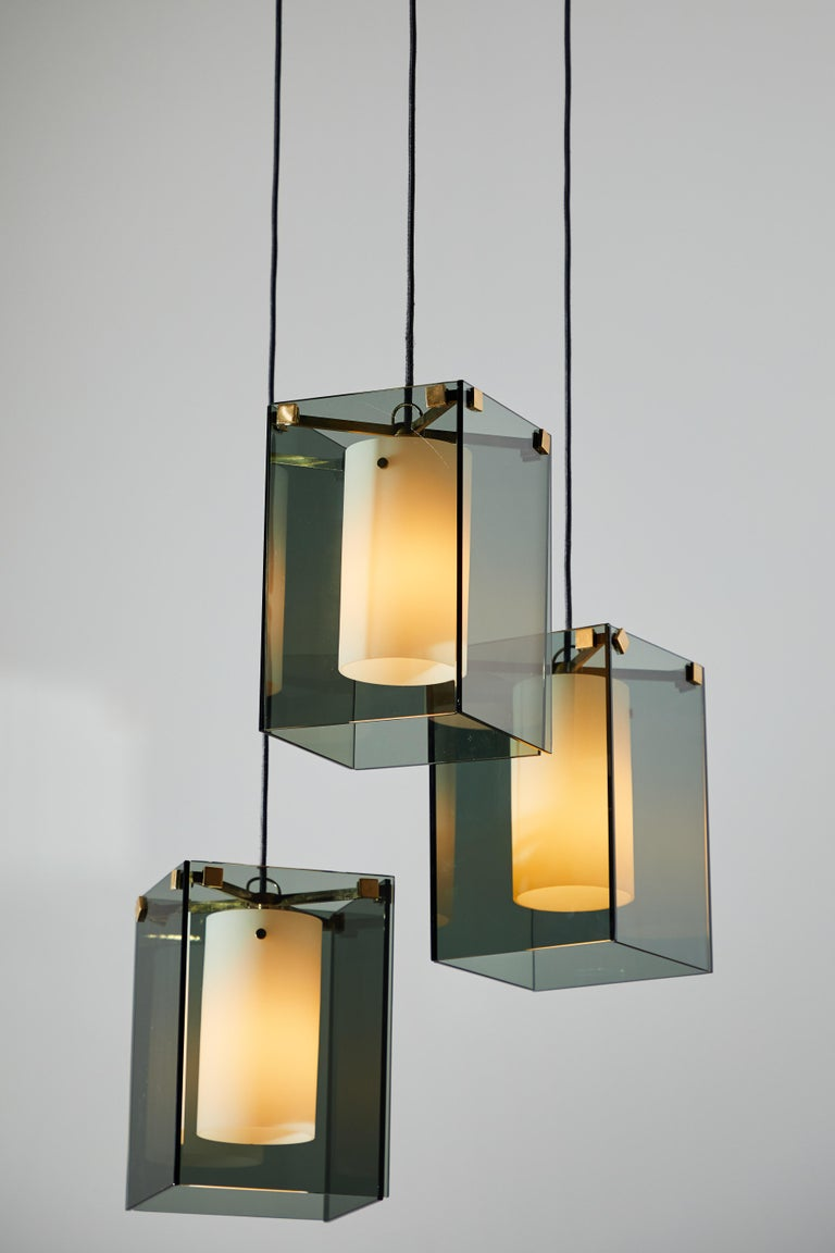 Suspension Light by Max Ingrand for Fontana Arte In Distressed Condition For Sale In Los Angeles, CA