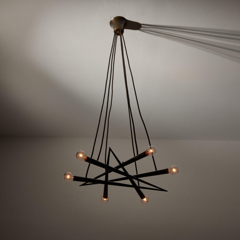 Suspension Light by Stilnovo. Manufactured in Italy, circa 1950's. Brass, original canopy, custom brass ceiling plate. Wired for U.S. standards. We recommend six E14 40w maximum candelabra bulbs. Bulbs not included.