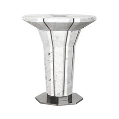 Suspicion Outdoor Side Table in Polished Stainless Steel and Carrara Marble