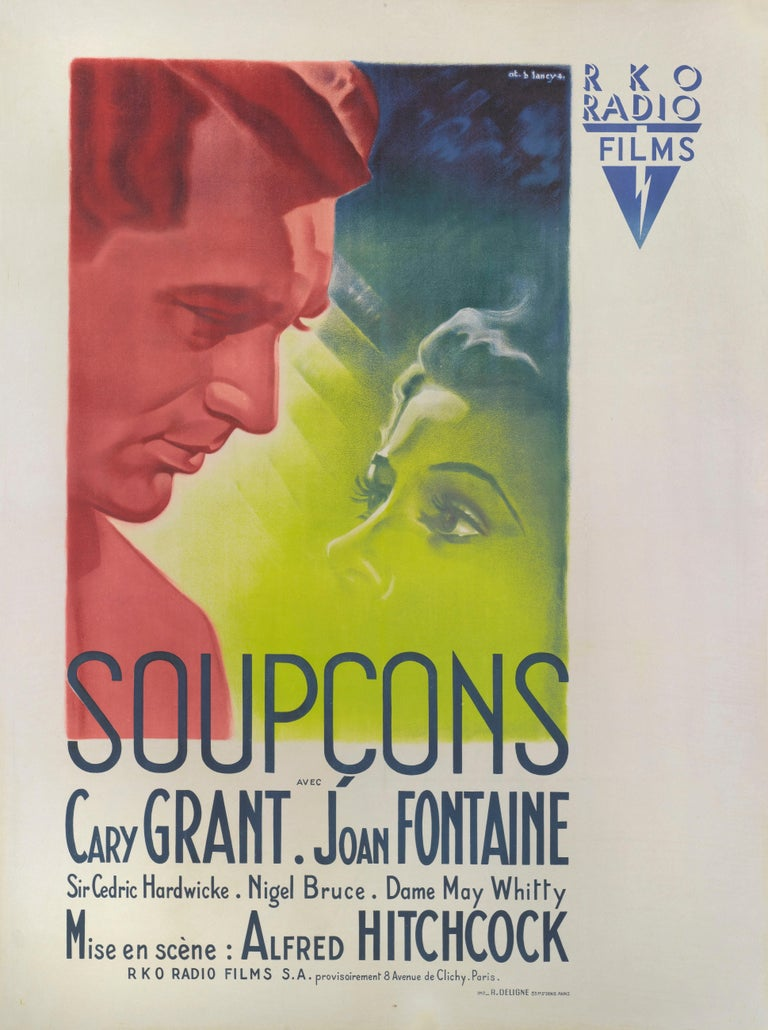 Original French film poster for Suspicion, 1941. This poster is from the film's first French release in 1946. This poster by Bernard Lancy (1892-1964) Bernard Lancy was a prolific creator of film posters, and designed the artwork for many notable