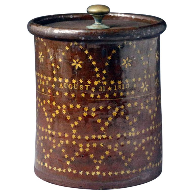 Sussex Pottery Slipware Jar Dated August 31st 1810 For Sale