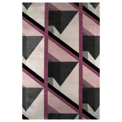Susy Purple & Black Area Rug in Hand Tufted Wool & Botanical Silk by Rug'Society