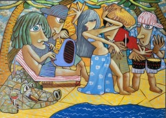 Jazz on the beach before the world went mad, Painting, Oil on Canvas