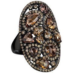 Sutra 18 Karat Blackened Gold and 7.68 Carat Brown Diamond Oval Ring